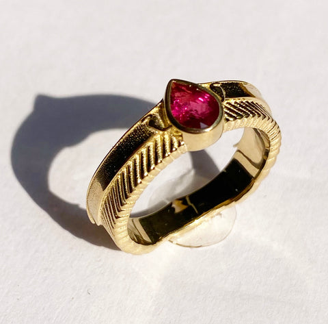 Winged Sun Disc Ruby Ring