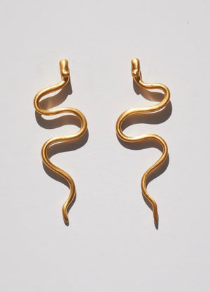 Asp Serpent Snake Earrings
