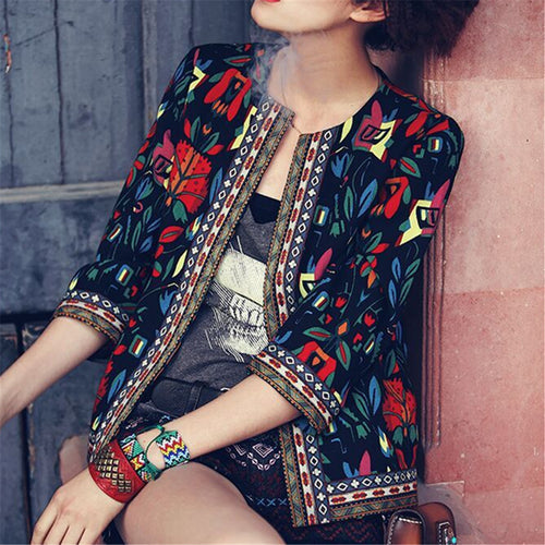 Fashion Retro Embroidered Printed Jacket