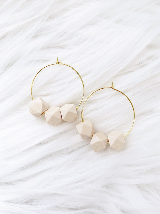 GEO WOOD BEAD EARRINGS