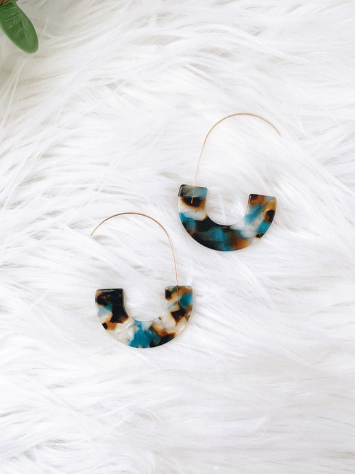 TEAL & BROWN RESIN DANGLE EARRINGS