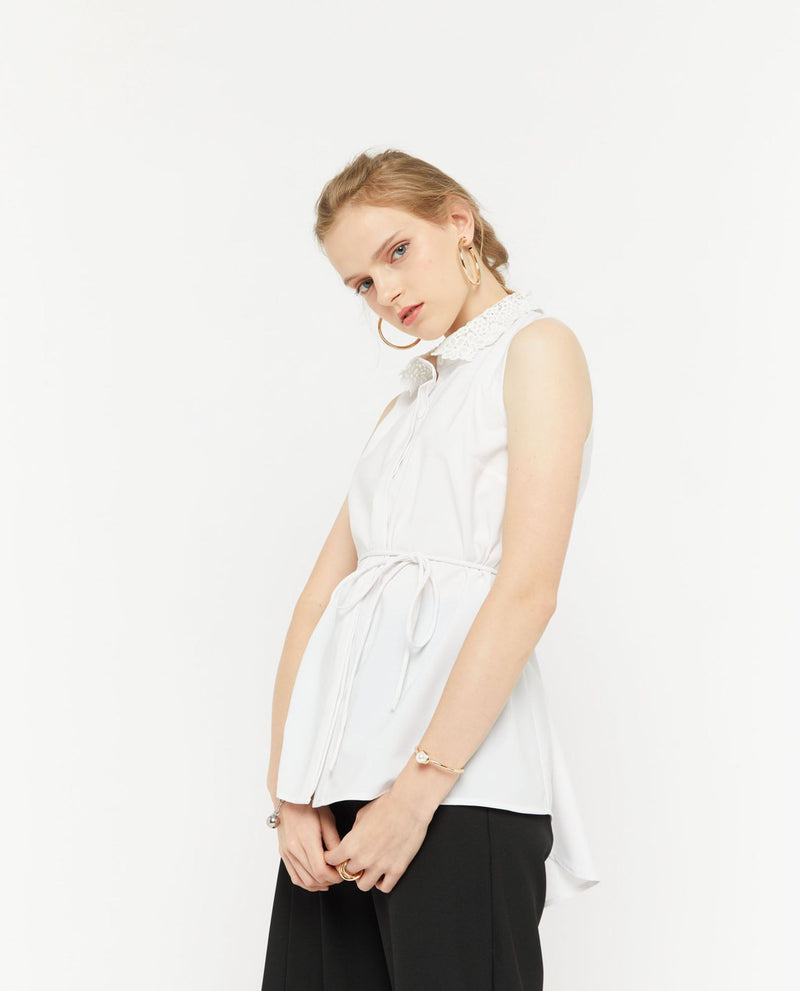 Unell Lace Collared Blouse Tops OSMOSE-STORES