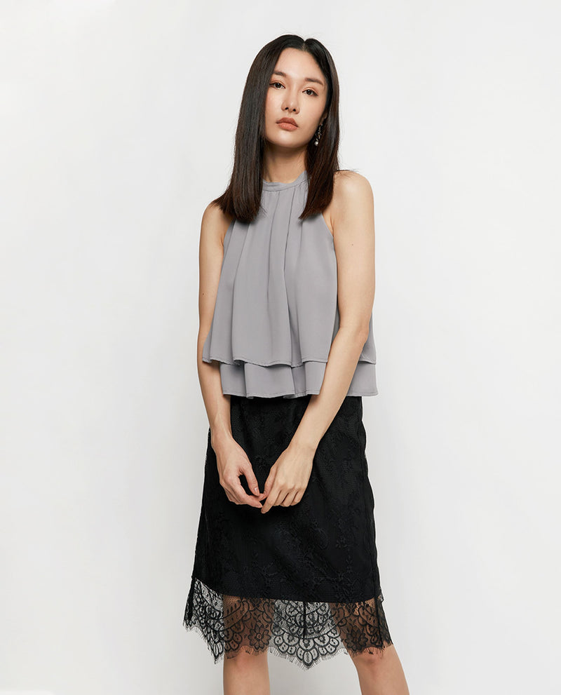 Everly Halter Top Tops OSMOSE-STORES XS Grey