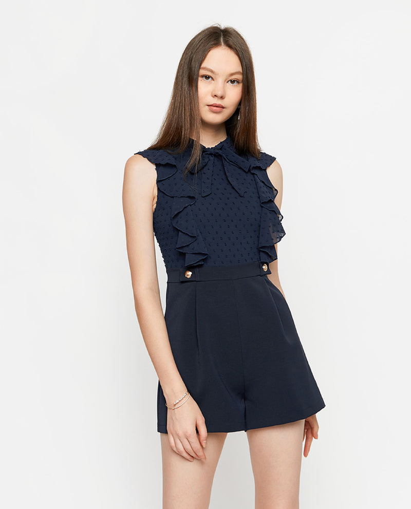Arly Ruffled Romper Romper OSMOSE-STORES XS Navy