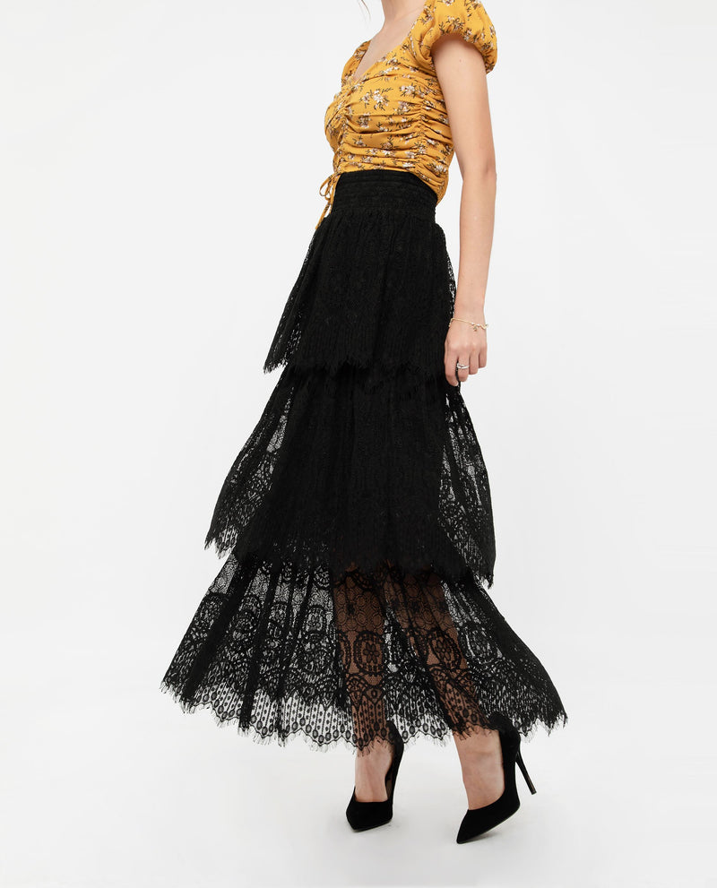 Zenre Lace Layered Maxi Skirt Bottoms OSMOSE-STORES