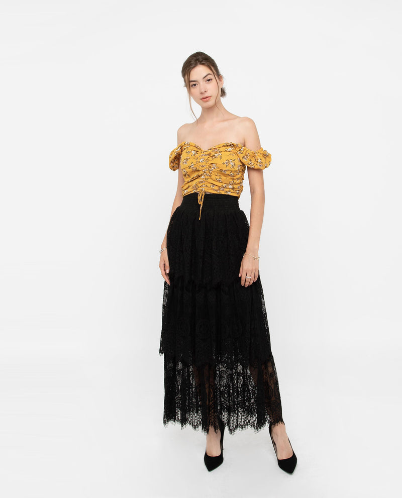 Zenre Lace Layered Maxi Skirt Bottoms OSMOSE-STORES S Black