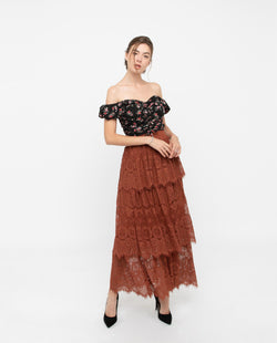 Zenre Lace Layered Maxi Skirt Bottoms OSMOSE-STORES S Brown