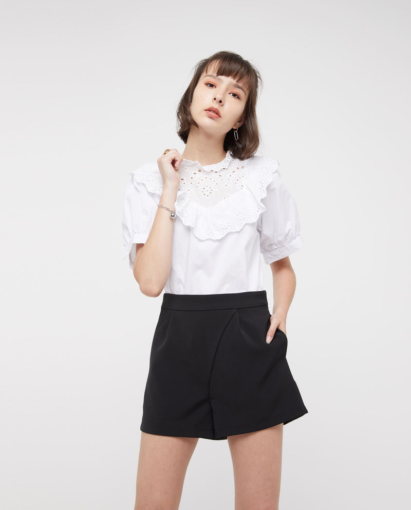 Jovien Broderie Lace Top Tops OSMOSE-STORES XS White