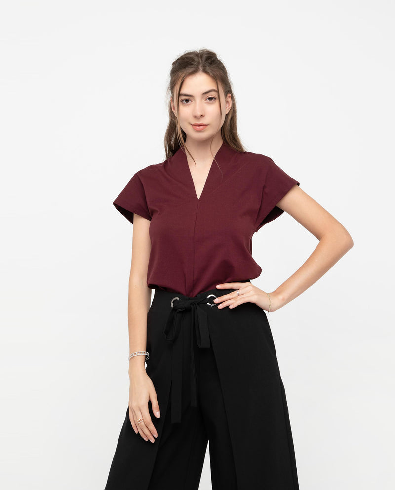 Rivka V Neckline Panel Top Tops OSMOSE-STORES S Red