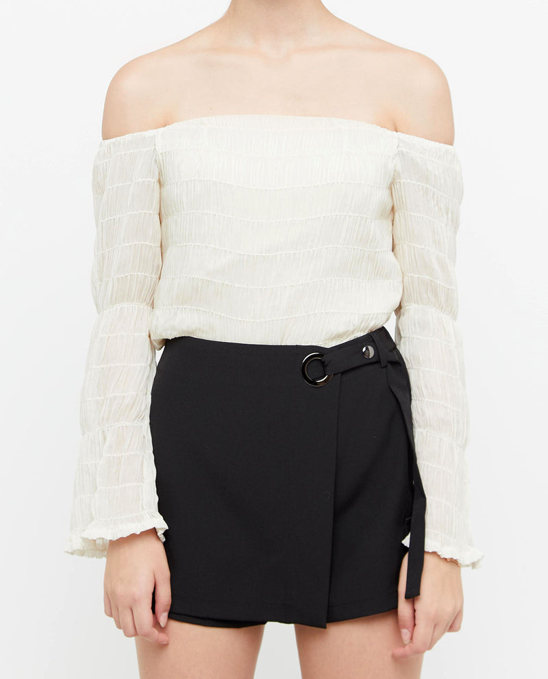Ashil Smocked Off Shoulder Top Tops OSMOSE-STORES