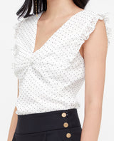 Bethil Polka Dot Twist Top Tops OSMOSE-STORES