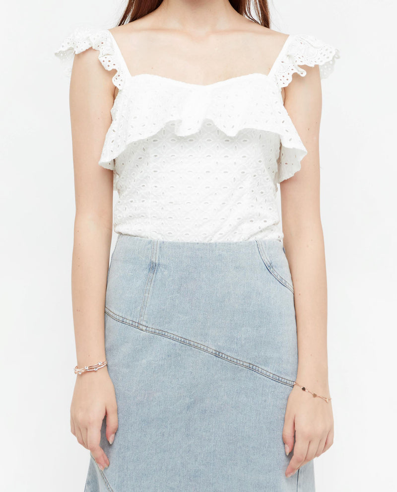 Starkin Broderie Ruffle Top Tops OSMOSE-STORES