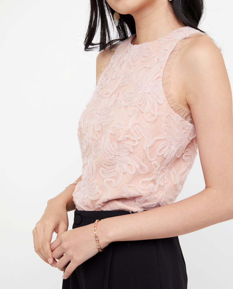 Kimia Floral Lace Trim Top Tops OSMOSE-STORES