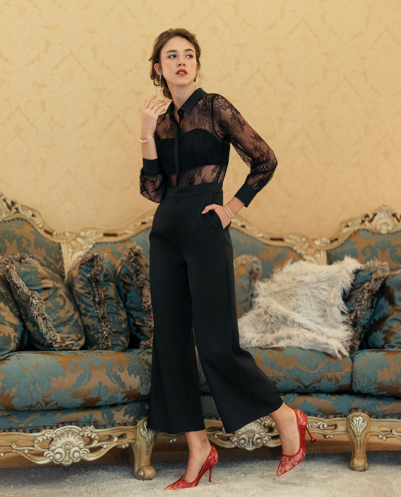 Cassell Lace Shirt Jumpsuit One-piece suits OSMOSE-STORES