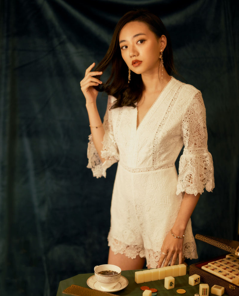 Tarrah Lace Overlay Romper Romper OSMOSE-STORES