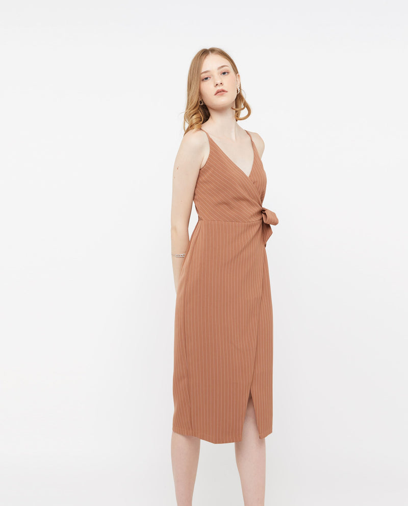 Edeth Wrap Stripe Dress Dresses OSMOSE-STORES