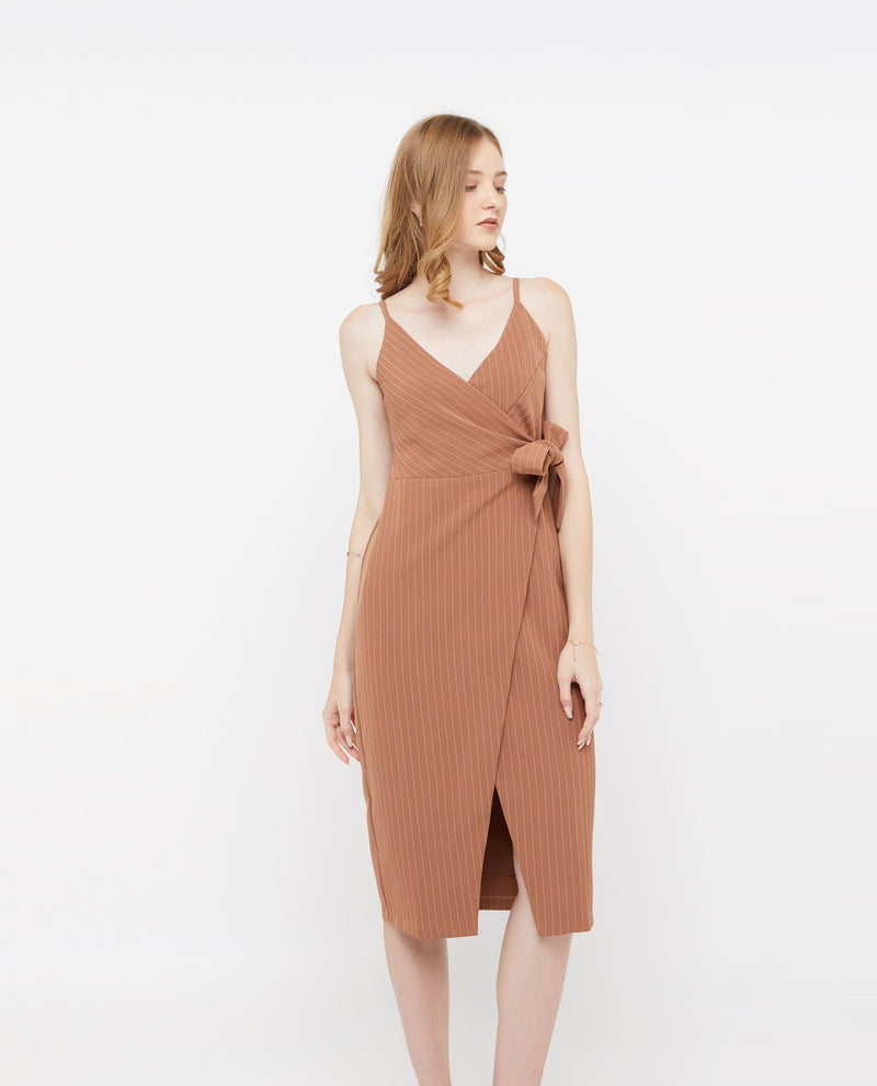 Edeth Wrap Stripe Dress Dresses OSMOSE-STORES XS Brown