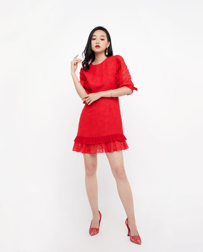 Annika Lace Trim Ruffle Dress Dresses OSMOSE-STORES