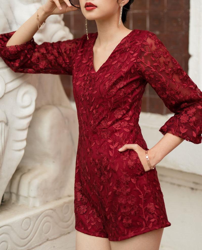 Acantha Embroidered Lace Romper One-piece suits OSMOSE-STORES