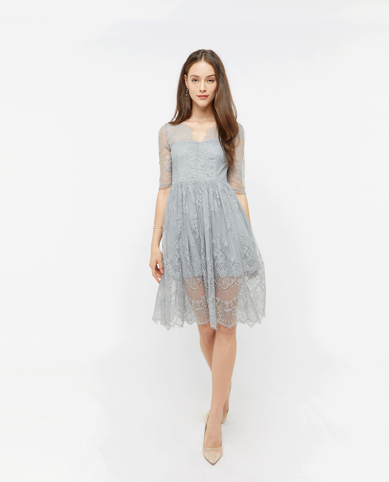 Aiva Lace Midi Dress Dresses OSMOSE-STORES XS Grey