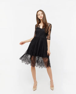 Aiva Lace Midi Dress Dresses OSMOSE-STORES XS Black