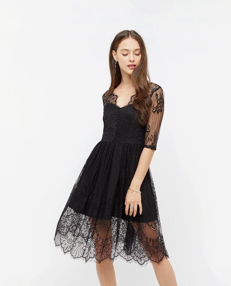 Aiva Lace Midi Dress Dresses OSMOSE-STORES