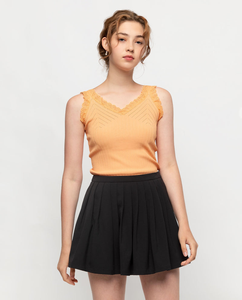 Antoine Lace Trim Knit Camisole Tops OSMOSE-STORES F Orange
