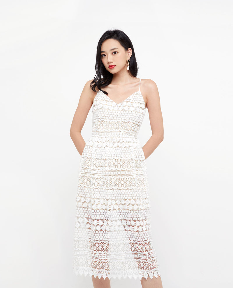 Aubrielle Embroidered Cami Dress Midi Dress OSMOSE-STORES XS White