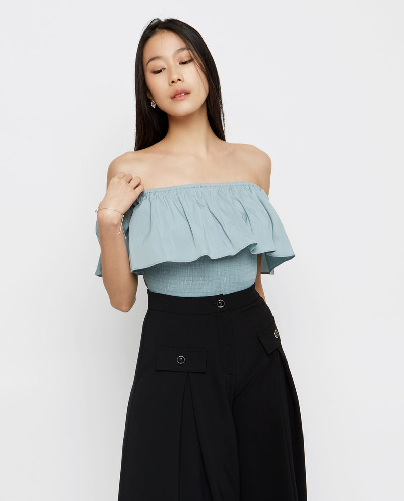 Axel Off Shoulder Top Tops OSMOSE-STORES XS Blue