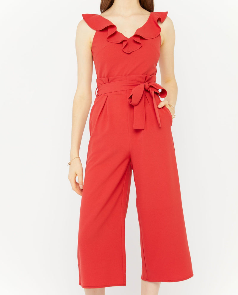 Bonnie Pleated Ruffle Jumpsuit Jumpsuit OSMOSE-STORES