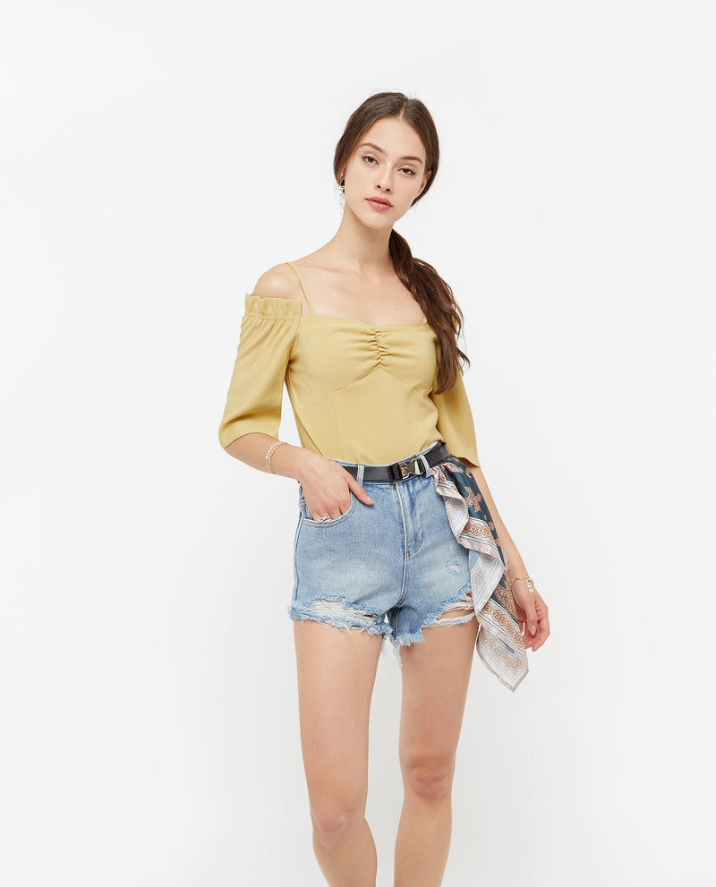 Brooksley Pleated Shoulder Cut Top Tops OSMOSE-STORES XS Yellow