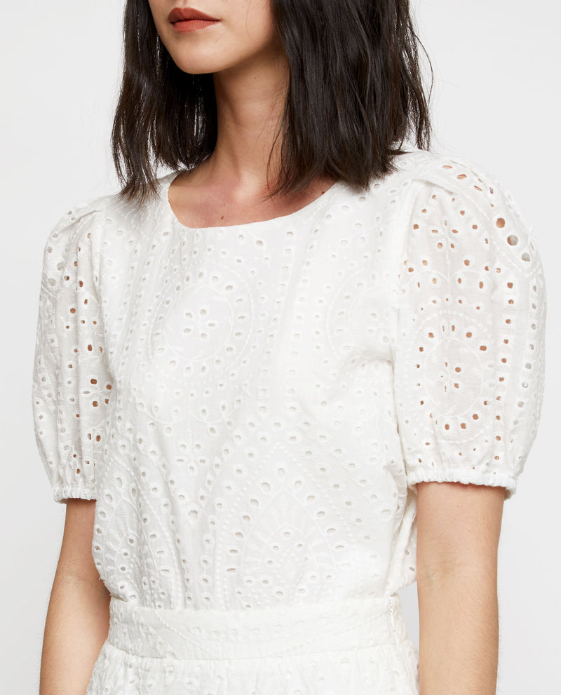 Camille Eyelet Top Tops OSMOSE-STORES