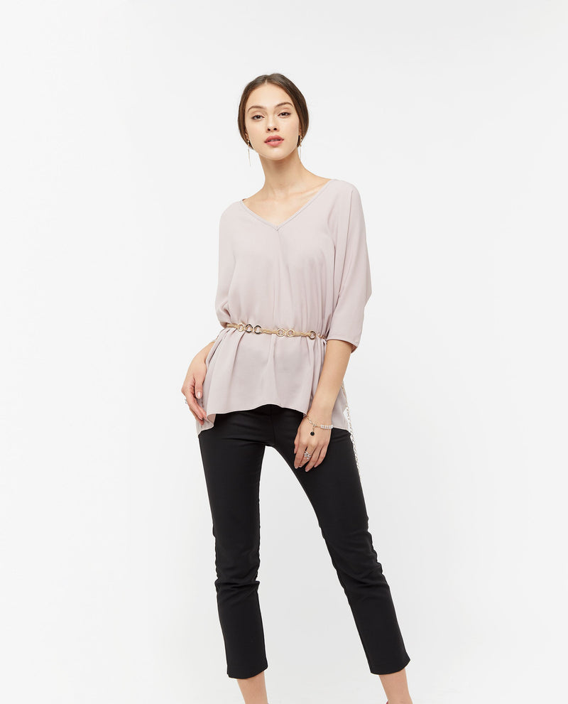 Carrine V Neckline Top Tops OSMOSE-STORES S Pink
