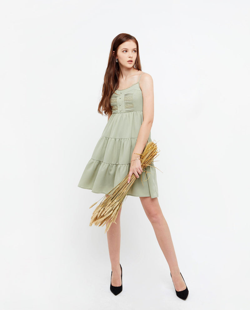 Cassie Lace Dress Dresses OSMOSE-STORES XS Green
