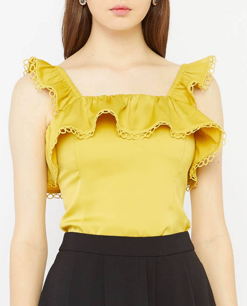 Cassinder Lace Flutter Top Tops OSMOSE-STORES