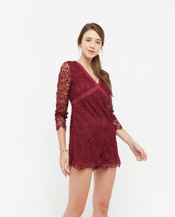 Christabel Lace Layered Romper One-piece suits OSMOSE-STORES XS Red