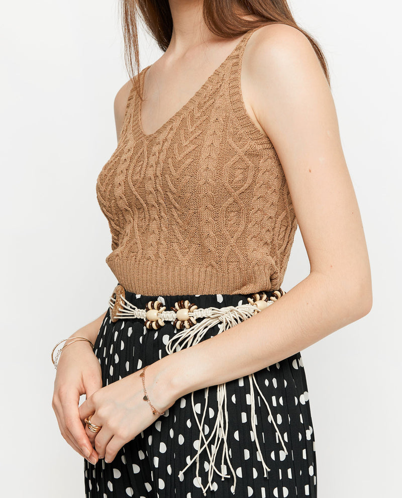Claris Knit Crop Top Tops OSMOSE-STORES F Brown