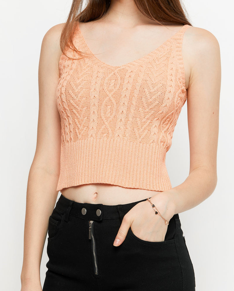 Claris Knit Crop Top Tops OSMOSE-STORES F Orange