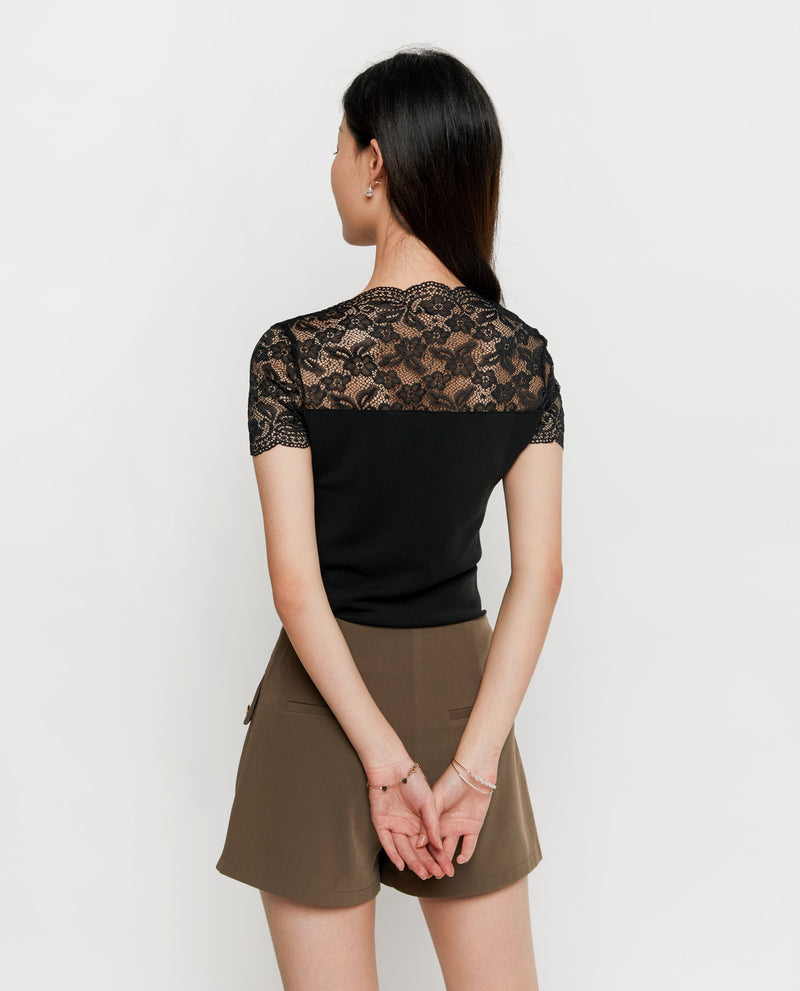Delphy Lace Basic Top Tops OSMOSE-STORES