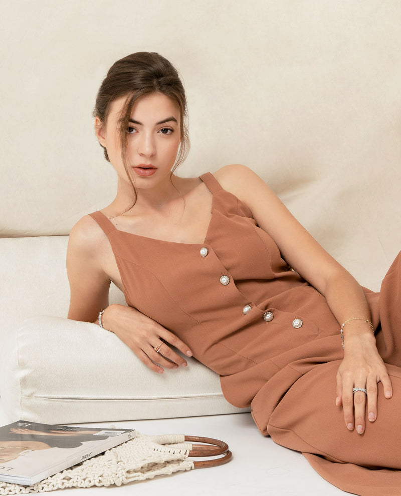 Dorian Button Down Jumpsuit One-piece suits OSMOSE-STORES XS Brown