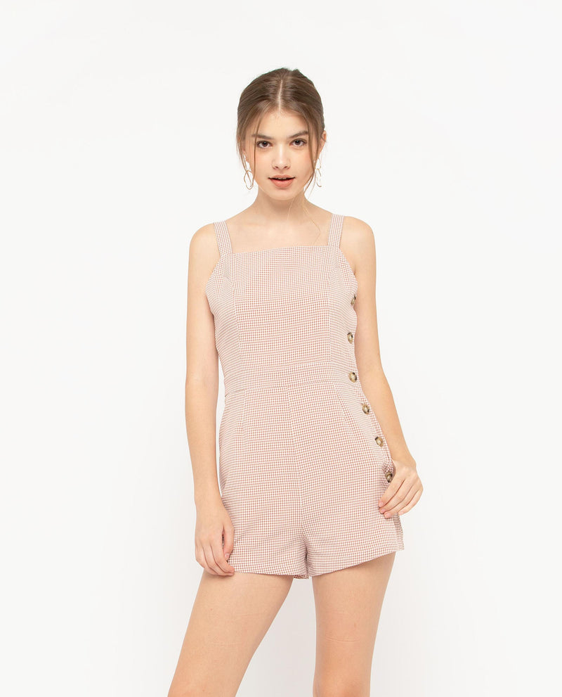Eamonn Plaid Romper One-piece suits OSMOSE-STORES XS Pink