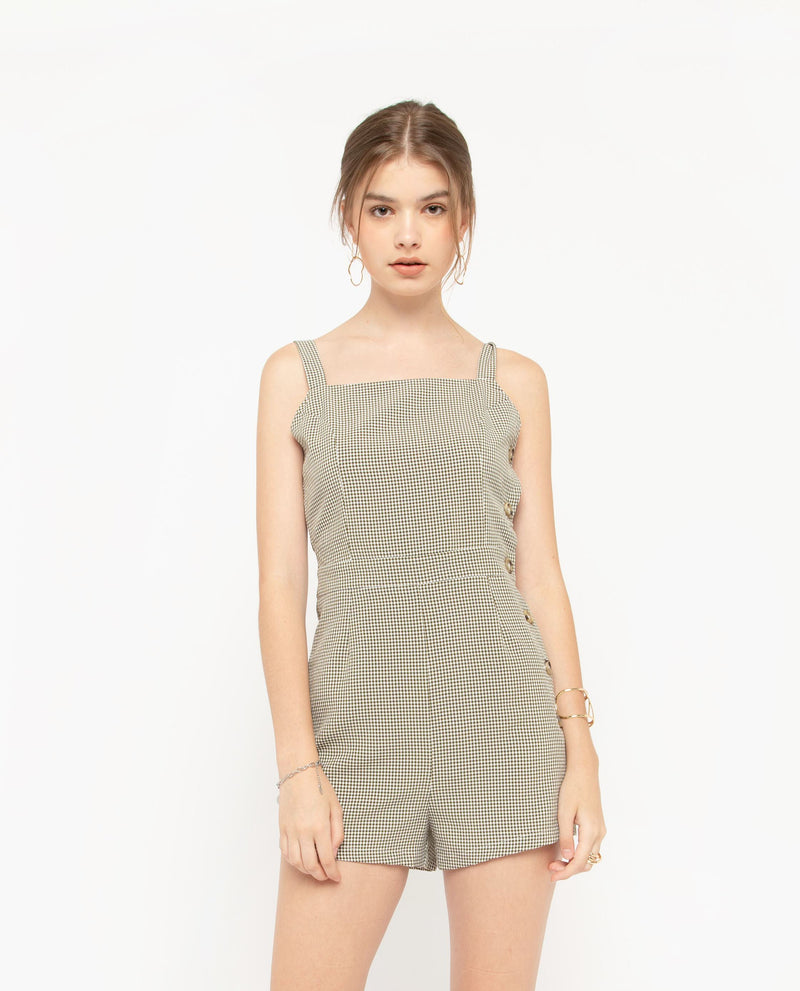 Eamonn Plaid Romper One-piece suits OSMOSE-STORES XS Green