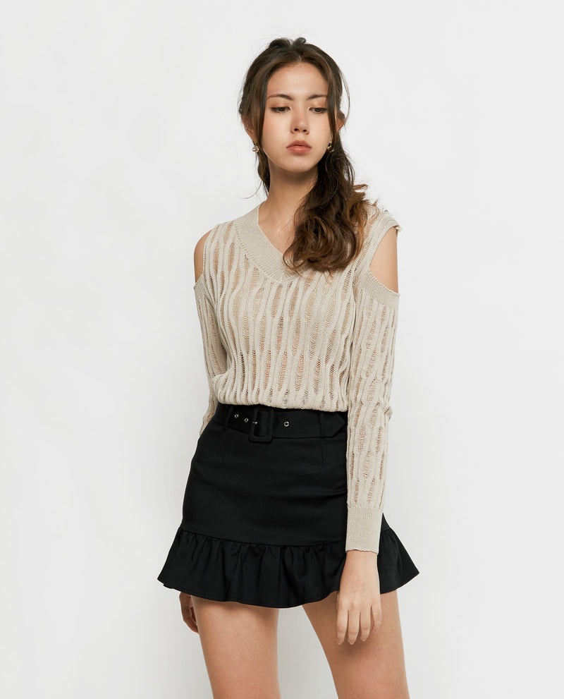 Ellen Woven Knit Top Tops OSMOSE-STORES