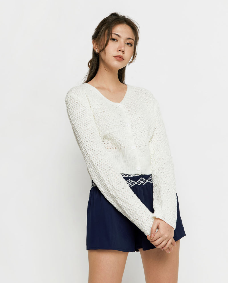Esthera Knit Cardigan Tops OSMOSE-STORES F White