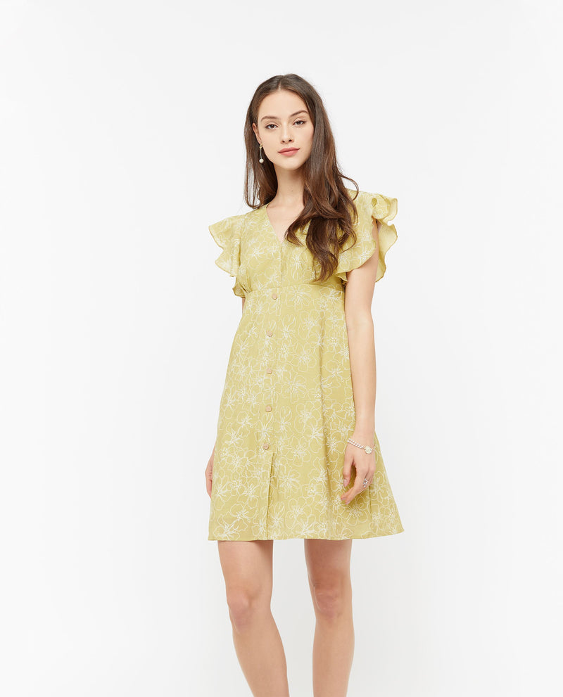 Fauna Minimal Print Dress Dresses OSMOSE-STORES XS Yellow