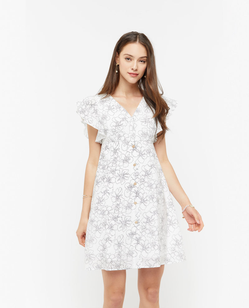 Fauna Minimal Print Dress Dresses OSMOSE-STORES XS White