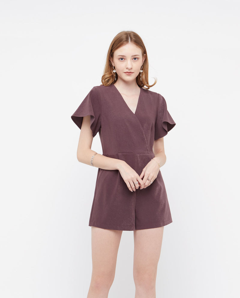 Feroa Flutter Sleeve Romper One-piece suits OSMOSE-STORES XS Purple