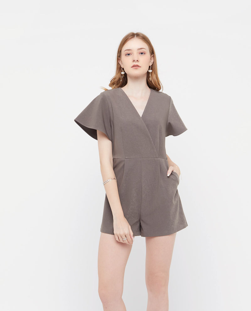 Feroa Flutter Sleeve Romper One-piece suits OSMOSE-STORES XS Grey