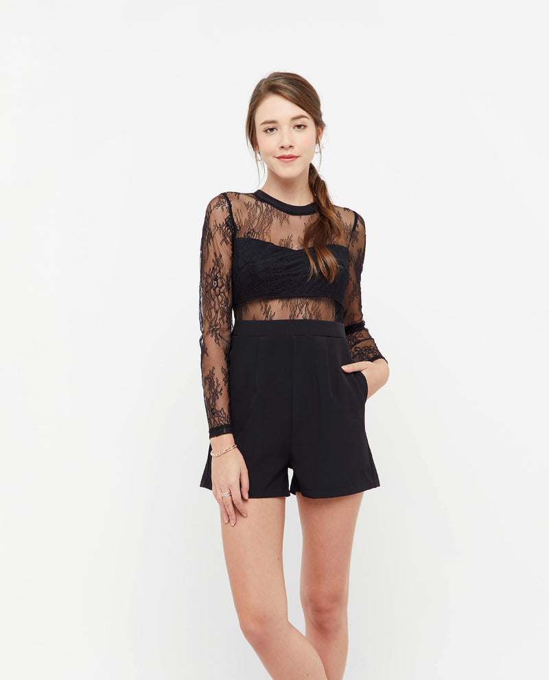 Furiosa Lace Mesh Romper One-piece suits OSMOSE-STORES XS Black