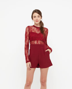 Furiosa Lace Mesh Romper One-piece suits OSMOSE-STORES XS Red
